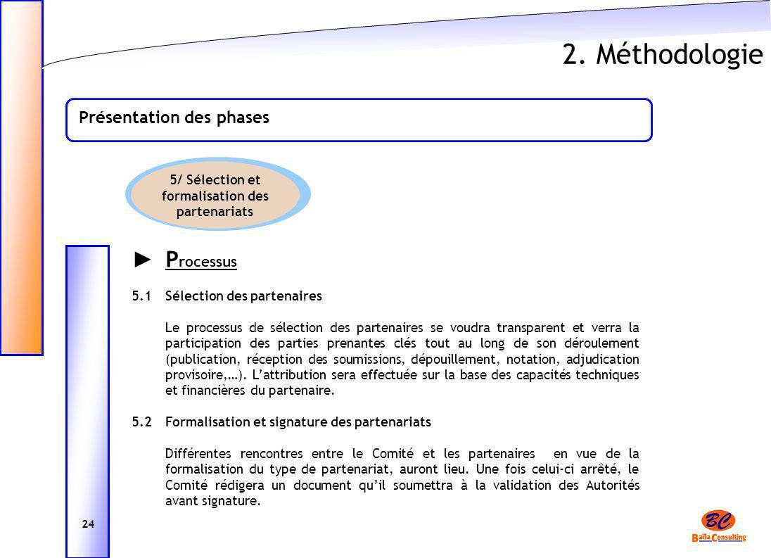 2. Méthodologie Présentation des phases 24 P rocessus 5.1Sélection des partenaires Le processus de sélection des partenaires se voudra transparent et