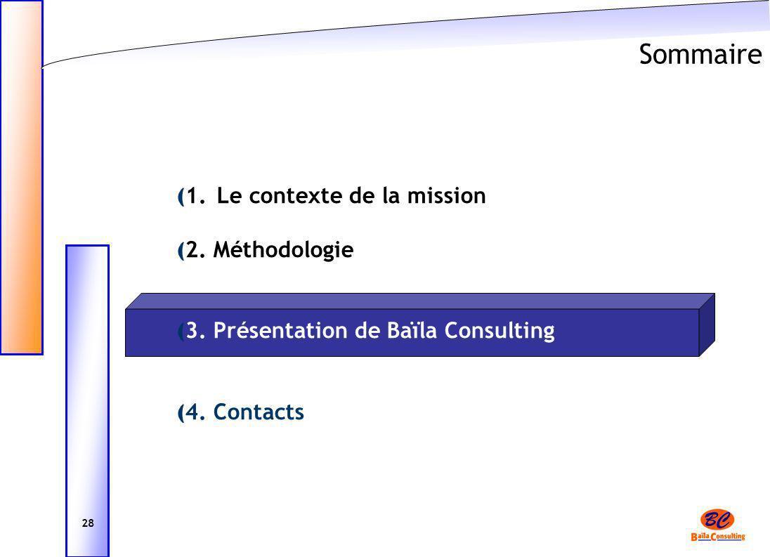 Sommaire ( 1. Le contexte de la mission ( 2. Méthodologie ( 3. Présentation de Baïla Consulting ( 4. Contacts 28