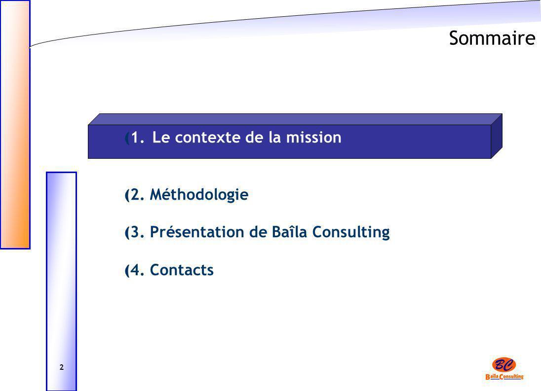 Sommaire ( 1. Le contexte de la mission ( 2. Méthodologie ( 3. Présentation de Baîla Consulting ( 4. Contacts 2