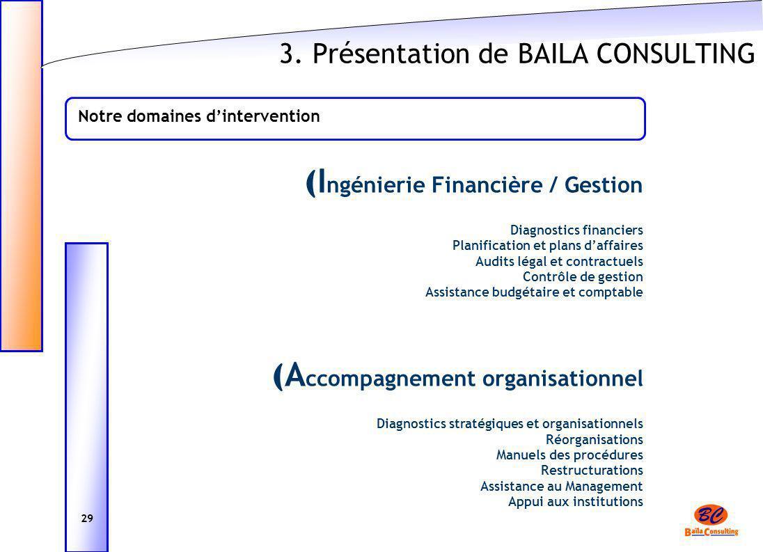 3. Présentation de BAILA CONSULTING ( I ngénierie Financière / Gestion Diagnostics financiers Planification et plans daffaires Audits légal et contrac