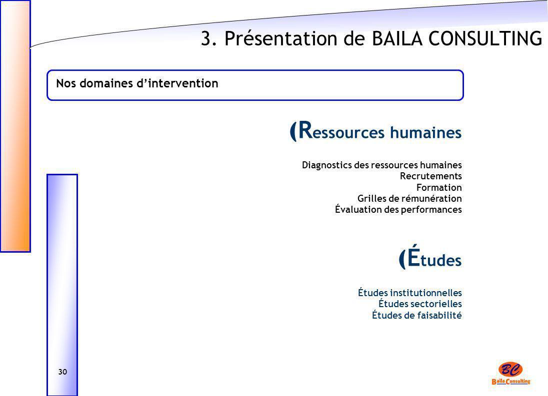 3. Présentation de BAILA CONSULTING ( R essources humaines Diagnostics des ressources humaines Recrutements Formation Grilles de rémunération Évaluati
