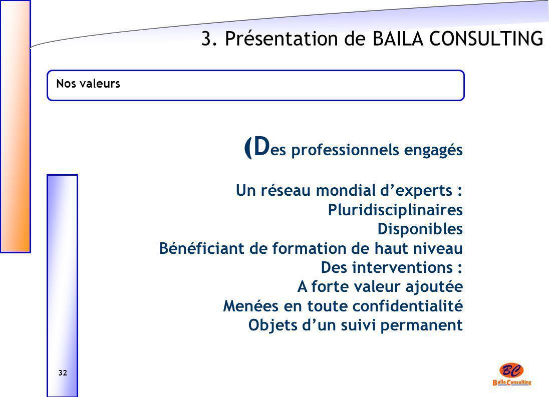 3. Présentation de BAILA CONSULTING Nos valeurs ( D es professionnels engagés Un réseau mondial dexperts : Pluridisciplinaires Disponibles Bénéficiant