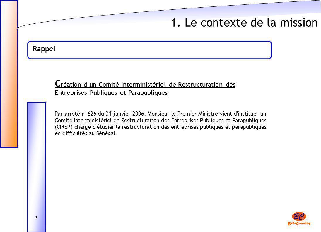 1. Le contexte de la mission Rappel C réation dun Comité Interministériel de Restructuration des Entreprises Publiques et Parapubliques Par arrêté n°6