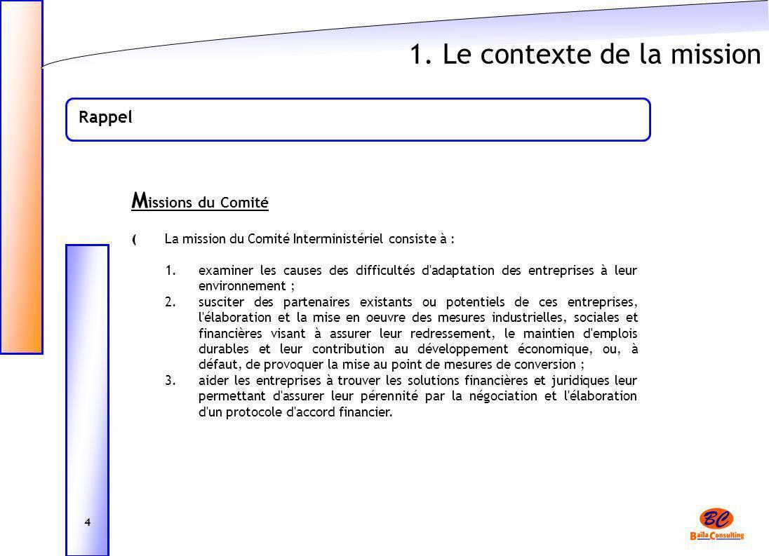 1. Le contexte de la mission Rappel M issions du Comité ( La mission du Comité Interministériel consiste à : 1.examiner les causes des difficultés d'a