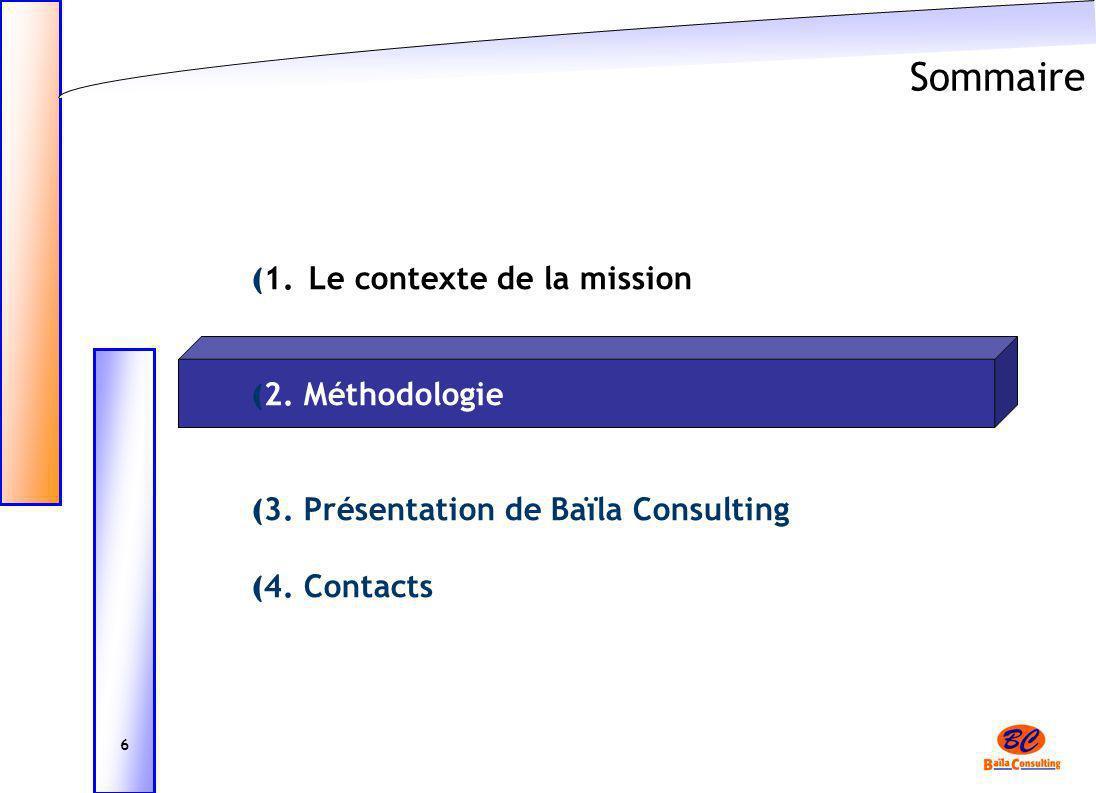 Sommaire ( 1. Le contexte de la mission ( 2. Méthodologie ( 3. Présentation de Baïla Consulting ( 4. Contacts 6