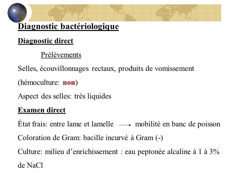 Diagnostic bactériologique Diagnostic direct Prélèvements Selles, écouvillonnages rectaux, produits de vomissement (hémoculture: non) Aspect des selle