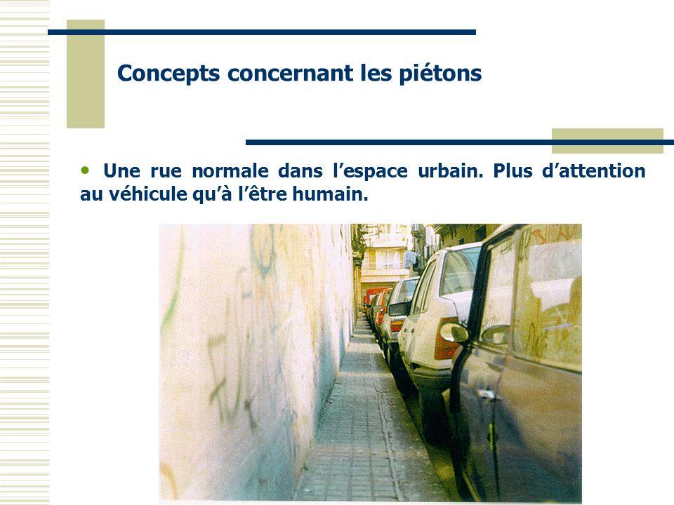 Une rue normale dans lespace urbain. Plus dattention au véhicule quà lêtre humain. Concepts concernant les piétons
