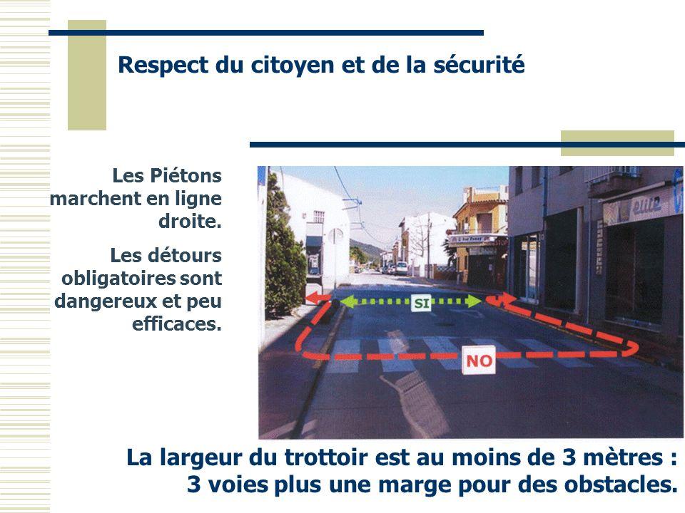 Les Piétons marchent en ligne droite. Les détours obligatoires sont dangereux et peu efficaces. Respect du citoyen et de la sécurité La largeur du tro