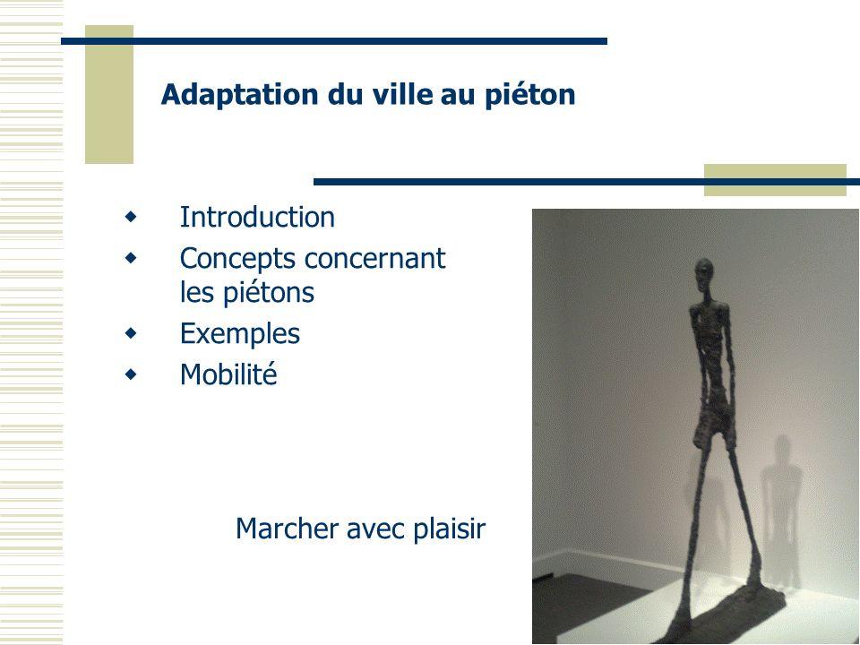 Introduction Concepts concernant les piétons Exemples Mobilité Marcher avec plaisir Adaptation du ville au piéton