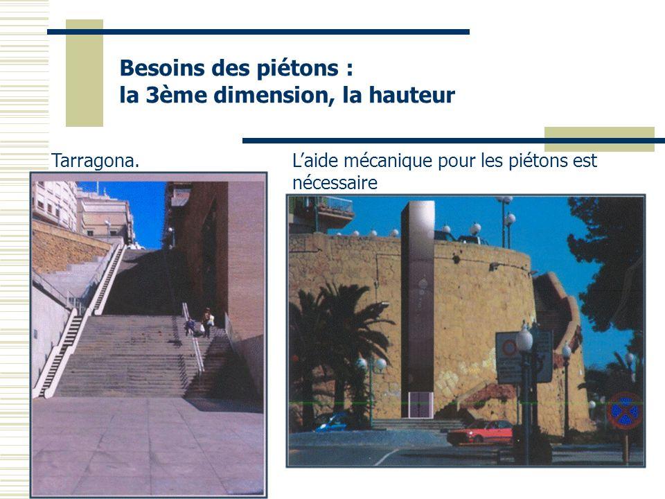 Besoins des piétons : la 3ème dimension, la hauteur Laide mécanique pour les piétons est nécessaire Tarragona.