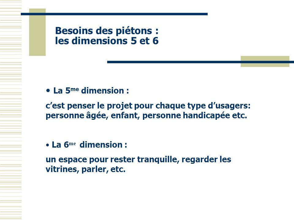 Besoins des piétons : les dimensions 5 et 6 La 5 me dimension : cest penser le projet pour chaque type dusagers: personne âgée, enfant, personne handi