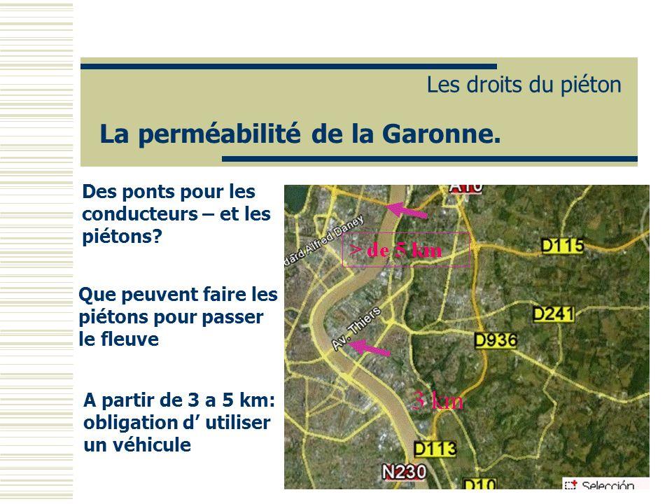La perméabilité de la Garonne. Les droits du piéton Des ponts pour les conducteurs – et les piétons? Que peuvent faire les piétons pour passer le fleu