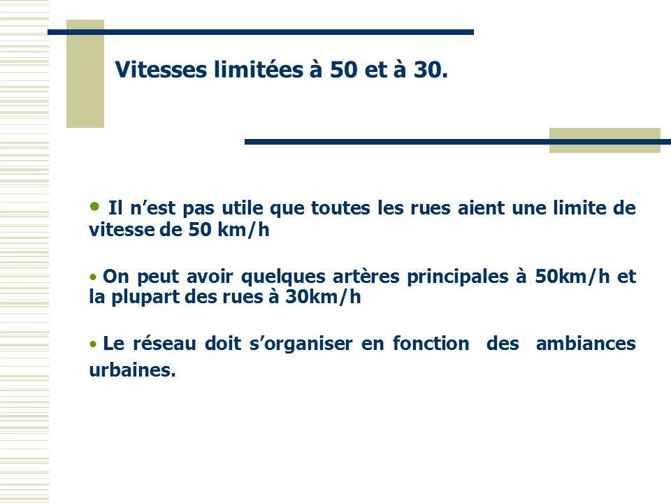 Il nest pas utile que toutes les rues aient une limite de vitesse de 50 km/h On peut avoir quelques artères principales à 50km/h et la plupart des rue
