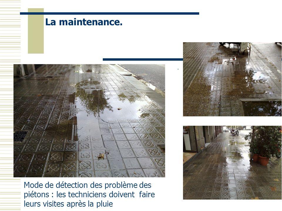 La maintenance.. Mode de détection des problème des piétons : les techniciens doivent faire leurs visites après la pluie