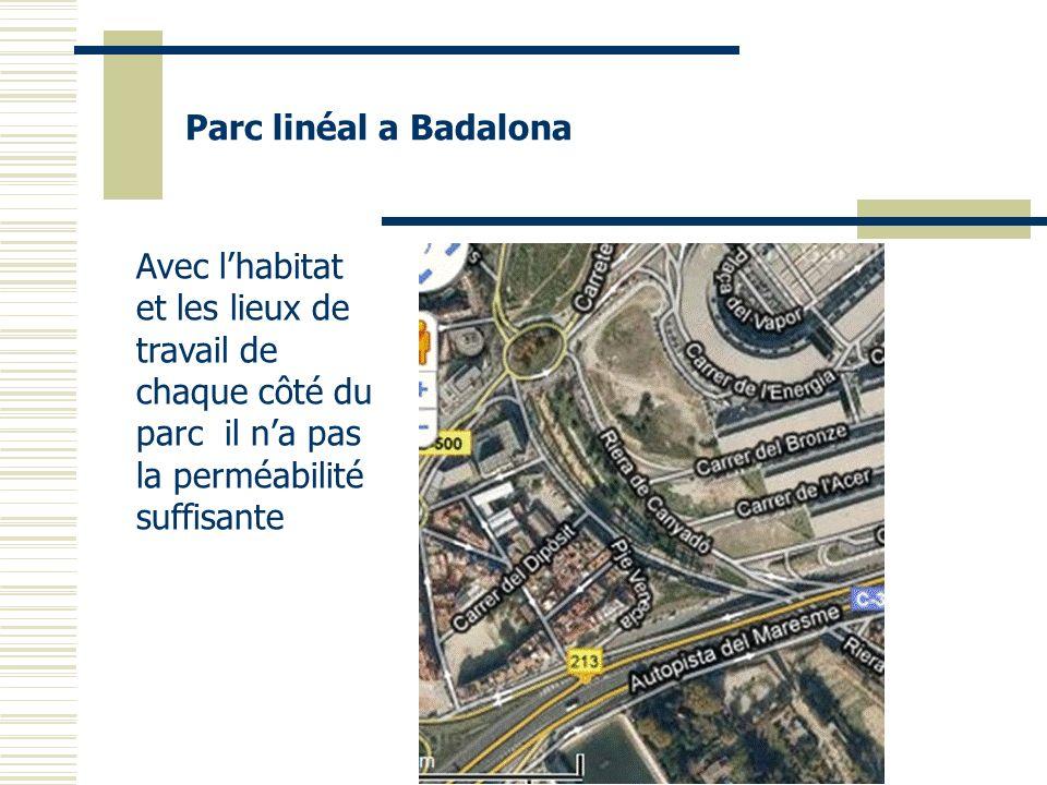 Parc linéal a Badalona Avec lhabitat et les lieux de travail de chaque côté du parc il na pas la perméabilité suffisante