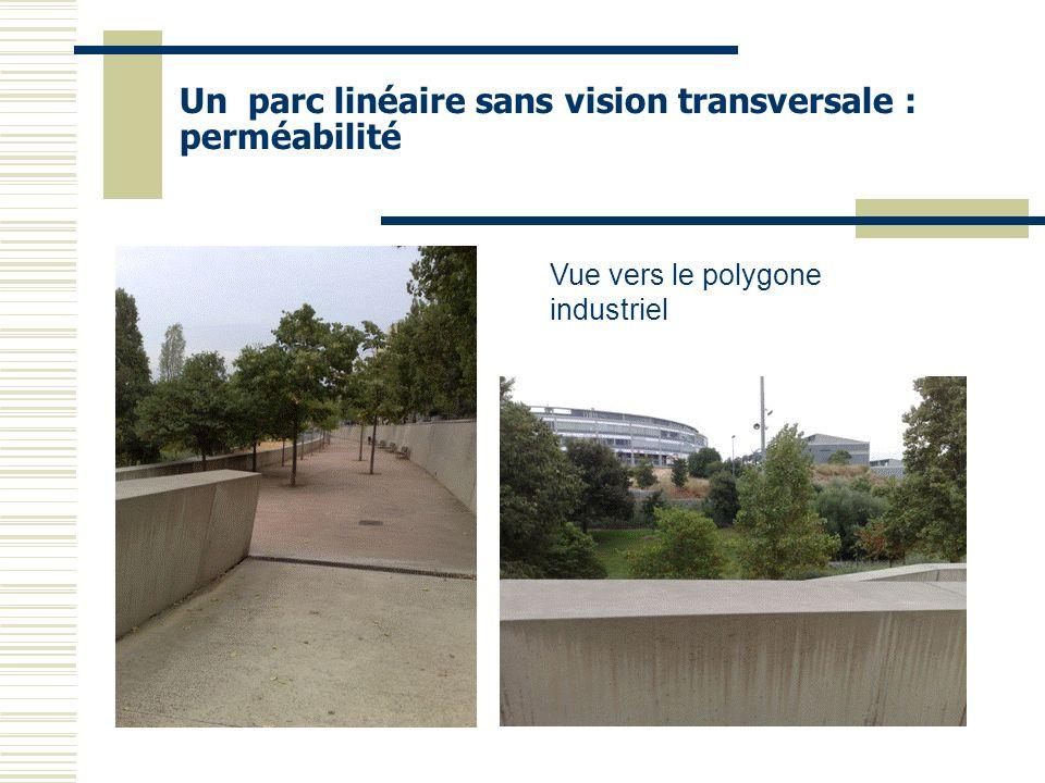 Un parc linéaire sans vision transversale : perméabilité Vue vers le polygone industriel
