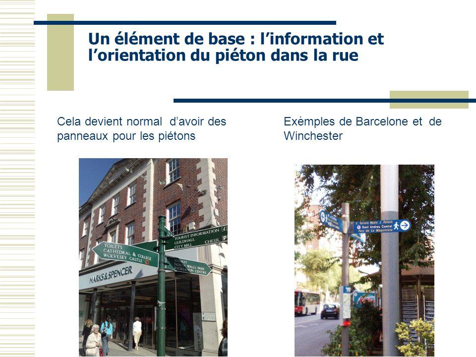 Un élément de base : linformation et lorientation du piéton dans la rue. Exemples de Barcelone et de Winchester Cela devient normal davoir des panneau