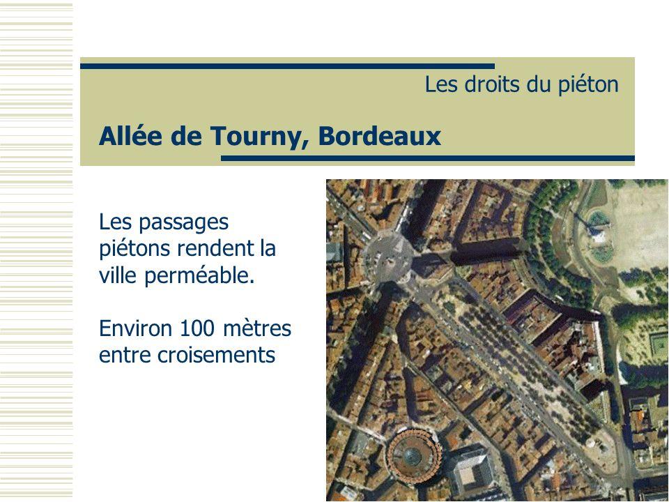 Allée de Tourny, Bordeaux Les droits du piéton Les passages piétons rendent la ville perméable. Environ 100 mètres entre croisements