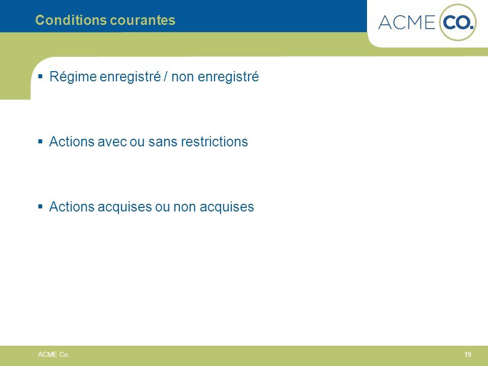 19 ACME Co. Conditions courantes Régime enregistré / non enregistré Actions avec ou sans restrictions Actions acquises ou non acquises