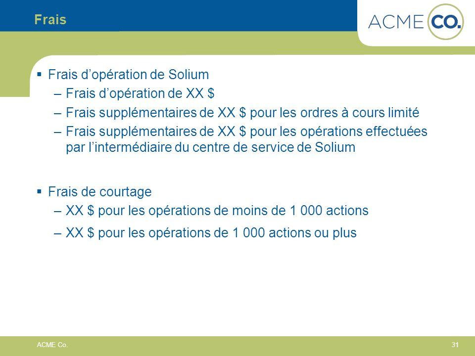 31 ACME Co. Frais Frais dopération de Solium –Frais dopération de XX $ –Frais supplémentaires de XX $ pour les ordres à cours limité –Frais supplément
