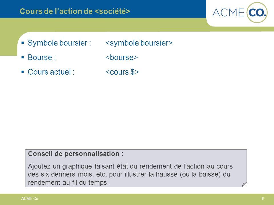 6 ACME Co. Cours de laction de Symbole boursier : Bourse : Cours actuel : Conseil de personnalisation : Ajoutez un graphique faisant état du rendement