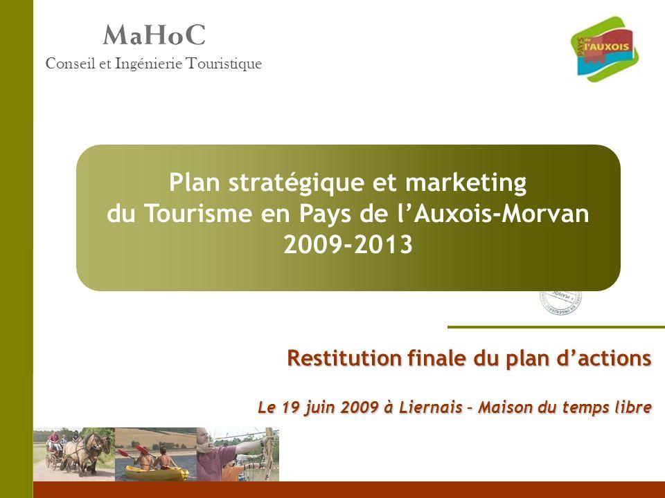 Restitution finale du plan dactions Le 19 juin 2009 à Liernais – Maison du temps libre Conseil et Ingénierie Touristique Plan stratégique et marketing