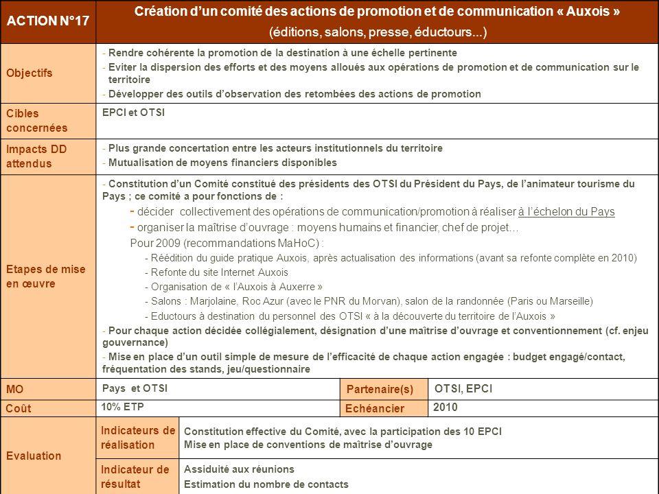 Juin 2009 Plan stratégique et marketing du Tourisme en Pays de lAuxois 2009-2013 – Plan dactions ACTION N°17 Création dun comité des actions de promot
