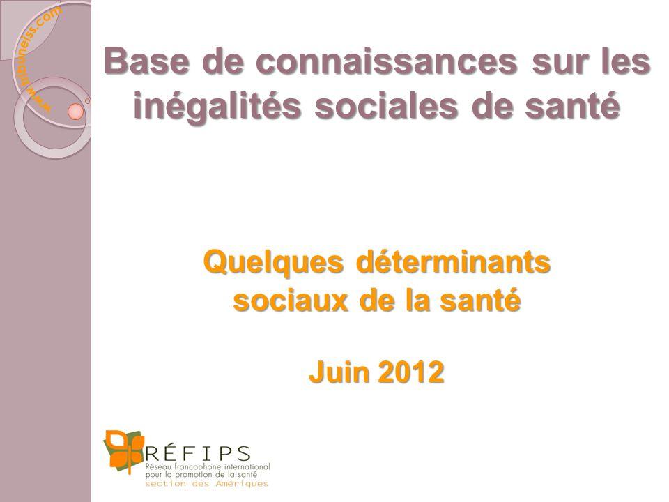 Base de connaissances sur les inégalités sociales de santé Quelques déterminants sociaux de la santé Juin 2012
