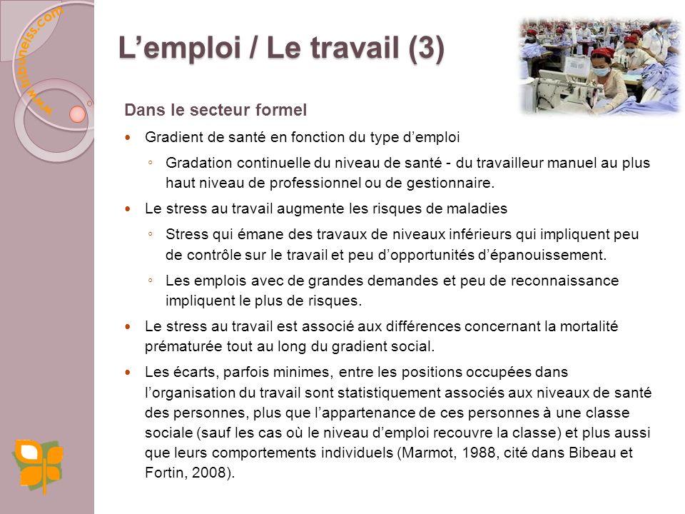 Dans le secteur informel La santé est affectée par des dangers liés à lemploi et par les modes de régulation du travail. Ce secteur représente 70 % de