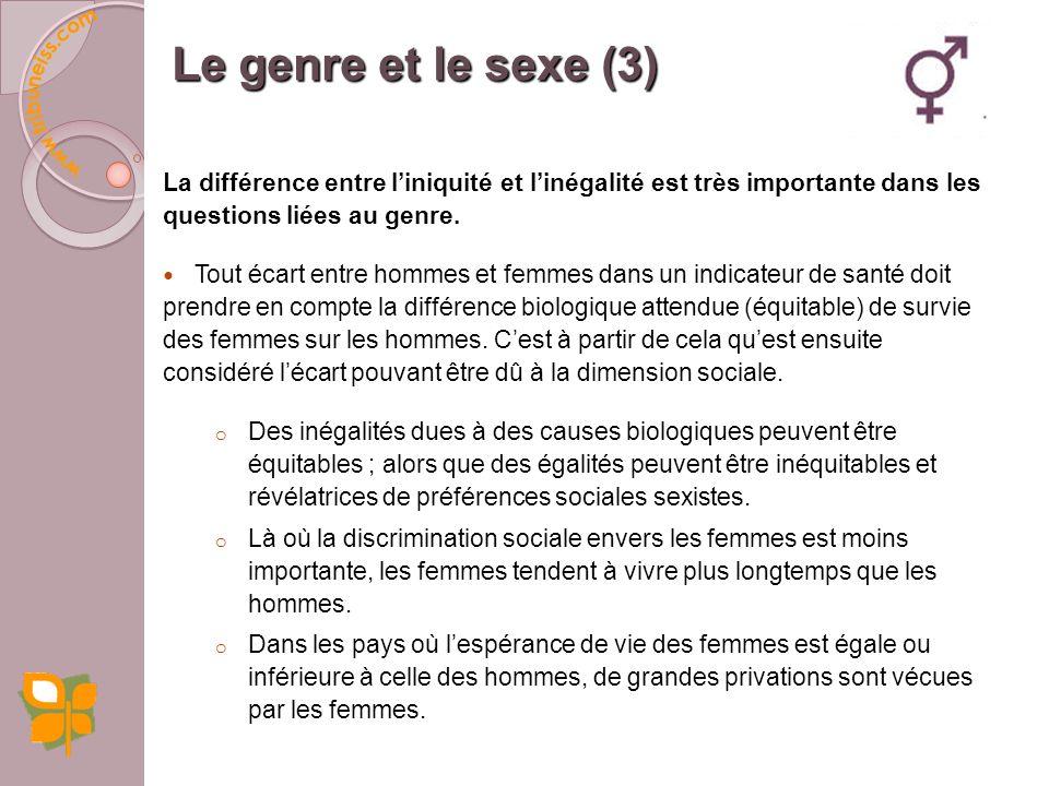 Les différences détats de santé liées au genre peuvent être considérées de deux façons : 1. Les besoins biologiques des hommes et des femmes ne sont p