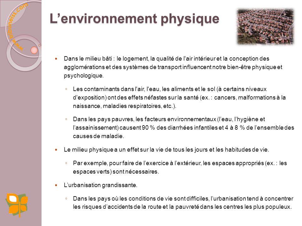 Conditions matérielles 1. Environnement physique (qualité de lair, de leau) 2. Transport 3. Urbanisation / Quartier / Logement 4. Accès à des aliments