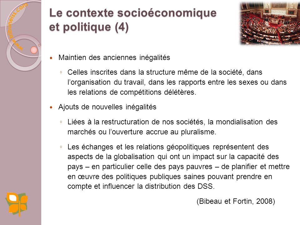 Maintien des anciennes inégalités Celles inscrites dans la structure même de la société, dans lorganisation du travail, dans les rapports entre les sexes ou dans les relations de compétitions délétères.