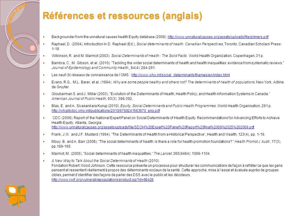 Références et ressources (français) Jones, C.M. et L. Potvin, Introduction dans Potvin, L., M.J Moquet et C. Jones (sous la dir. de) (2010). Réduire l
