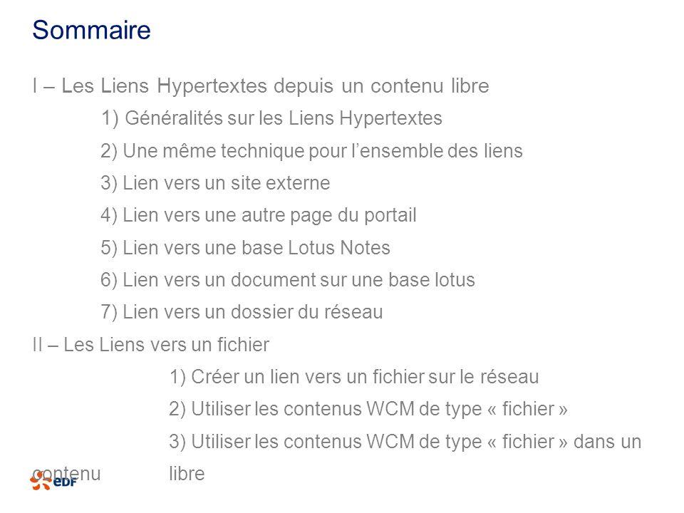 Sommaire I – Les Liens Hypertextes depuis un contenu libre 1) Généralités sur les Liens Hypertextes 2) Une même technique pour lensemble des liens 3)
