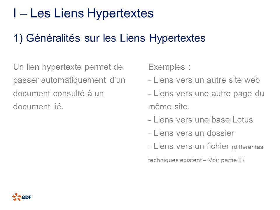 I – Les Liens Hypertextes Un lien hypertexte permet de passer automatiquement d'un document consulté à un document lié. Exemples : - Liens vers un aut