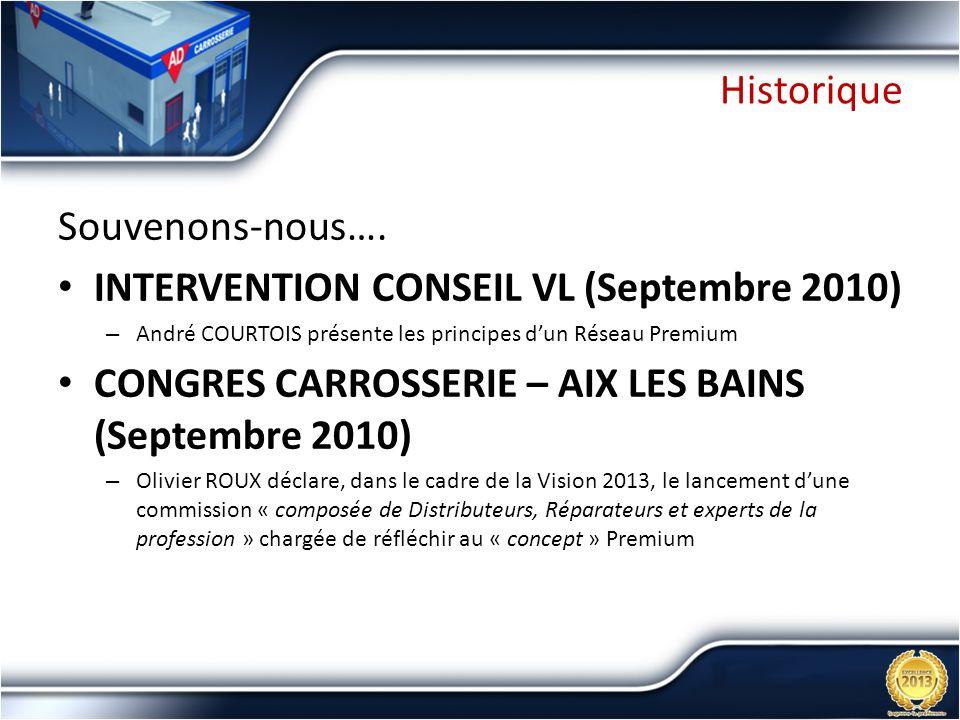 Historique Souvenons-nous…. INTERVENTION CONSEIL VL (Septembre 2010) – André COURTOIS présente les principes dun Réseau Premium CONGRES CARROSSERIE –