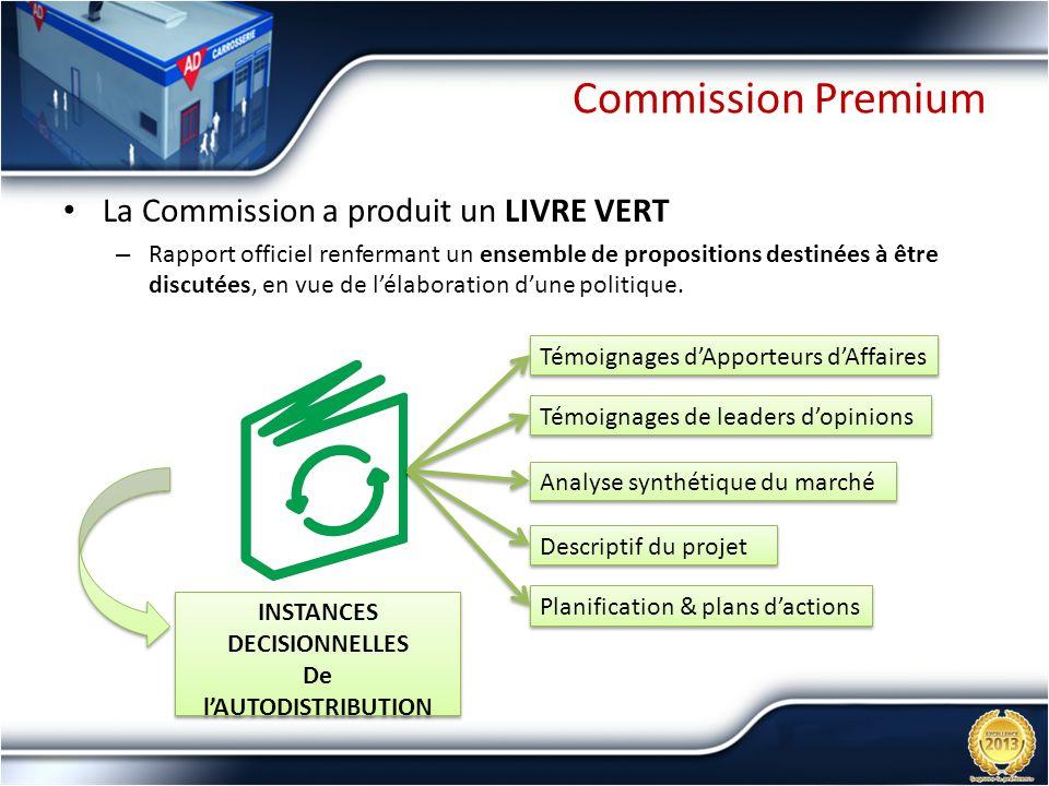 Commission Premium La Commission a produit un LIVRE VERT – Rapport officiel renfermant un ensemble de propositions destinées à être discutées, en vue