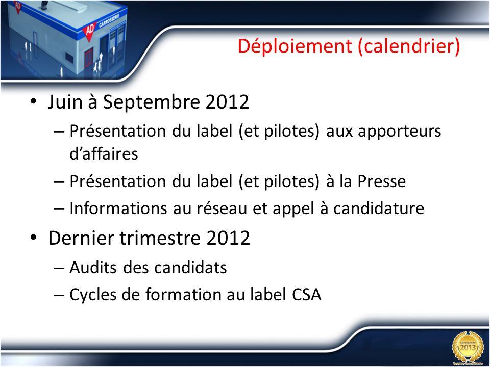 Déploiement (calendrier) Juin à Septembre 2012 – Présentation du label (et pilotes) aux apporteurs daffaires – Présentation du label (et pilotes) à la