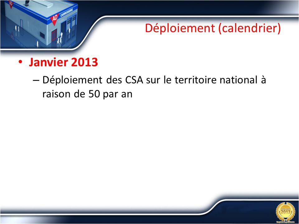 Déploiement (calendrier) Janvier 2013 – Déploiement des CSA sur le territoire national à raison de 50 par an