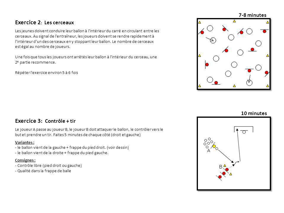 7-8 minutes 10 minutes Exercice 3 : Contrôle + tir Le joueur A passe au joueur B, le joueur B doit attaquer le ballon, le contrôler vers le but et pre