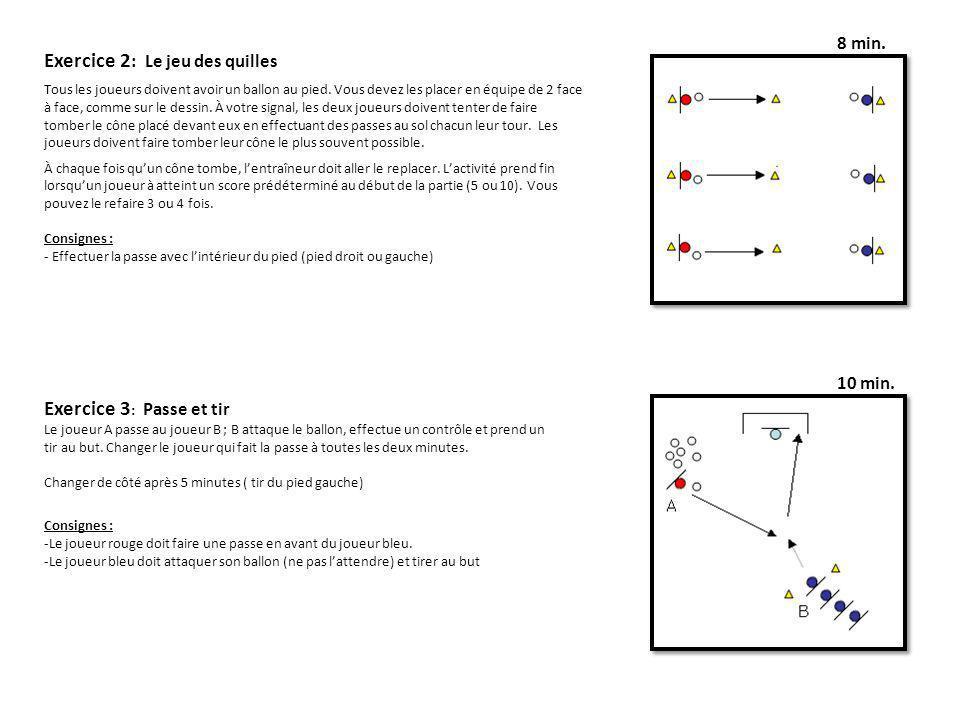 8 min. 10 min. Exercice 2 : Le jeu des quilles Tous les joueurs doivent avoir un ballon au pied. Vous devez les placer en équipe de 2 face à face, com