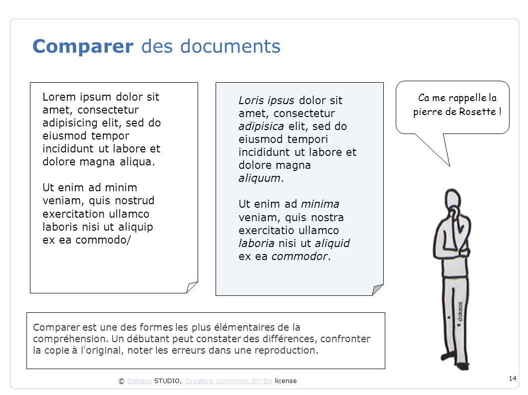 © Dokeos STUDIO, Creative Commons BY-SA licenseDokeosCreative Commons BY-SA 14 Comparer des documents Comparer est une des formes les plus élémentaire
