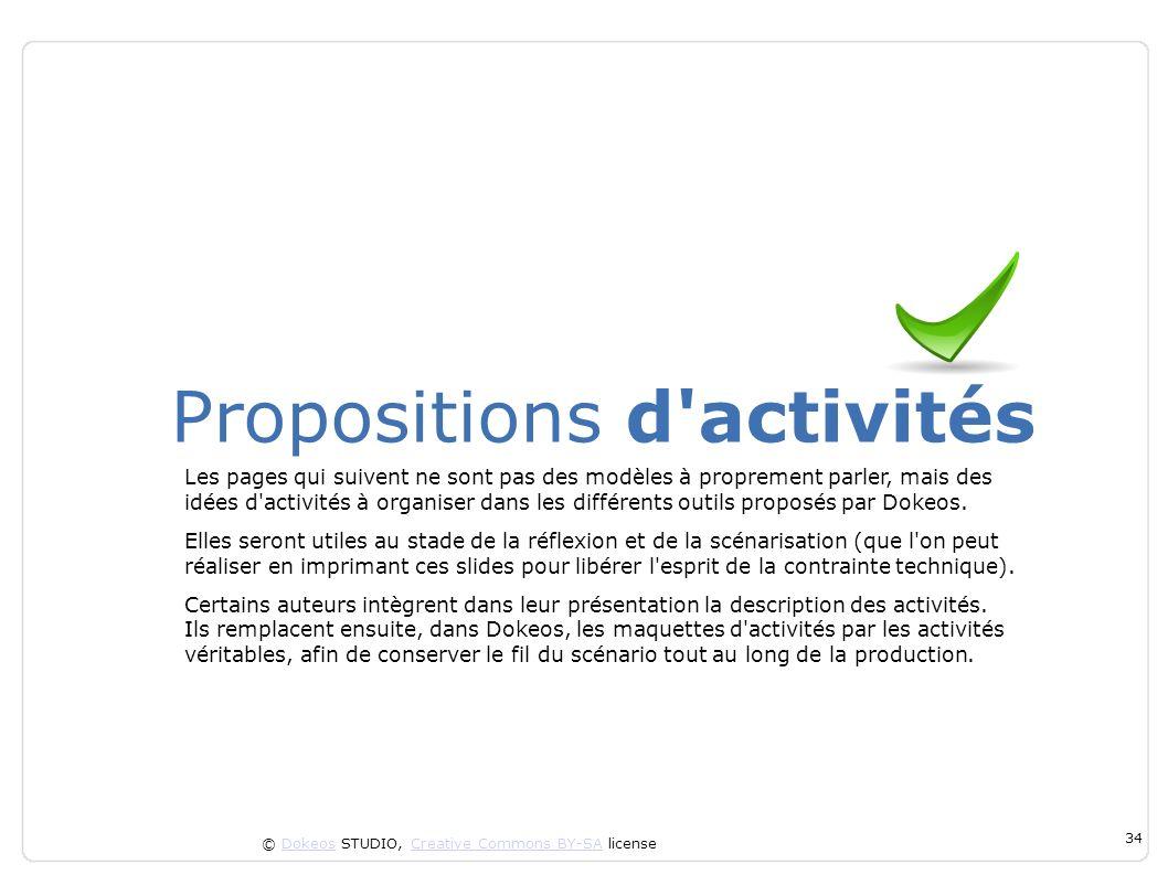 © Dokeos STUDIO, Creative Commons BY-SA licenseDokeosCreative Commons BY-SA 34 Propositions d'activités Les pages qui suivent ne sont pas des modèles