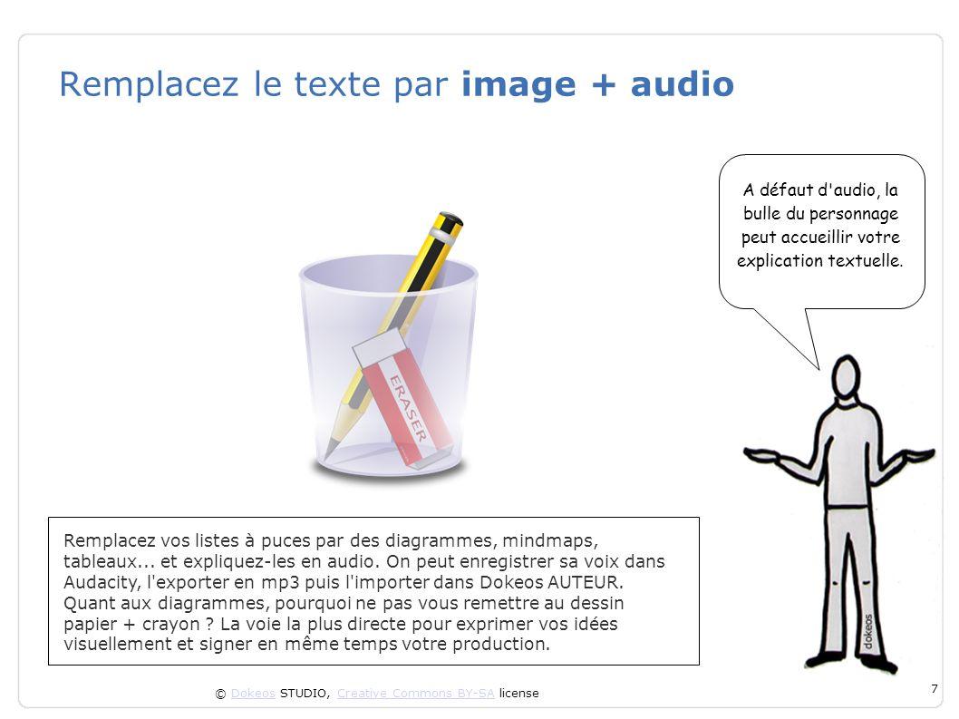 © Dokeos STUDIO, Creative Commons BY-SA licenseDokeosCreative Commons BY-SA 7 Remplacez le texte par image + audio Remplacez vos listes à puces par de