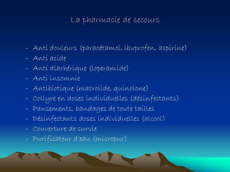 La pharmacie de secours –Anti douleurs (paracétamol, ibuprofen, aspirine) –Anti acide –Anti diarhérique (loperamide) –Anti insomnie –Antibiotique (mac
