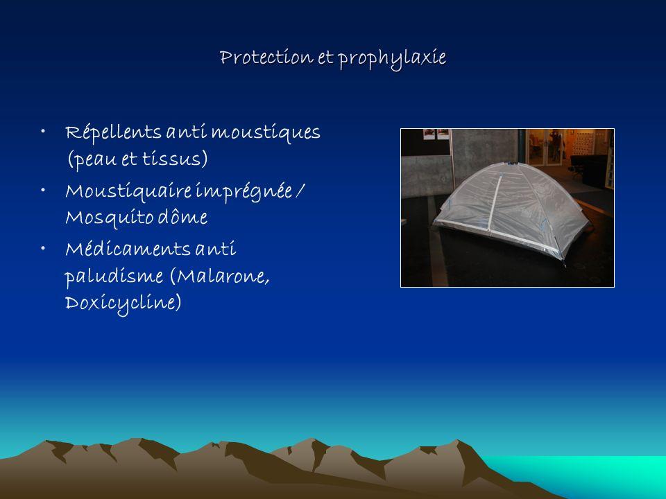 Protection et prophylaxie Répellents anti moustiques (peau et tissus) Moustiquaire imprégnée / Mosquito dôme Médicaments anti paludisme (Malarone, Dox