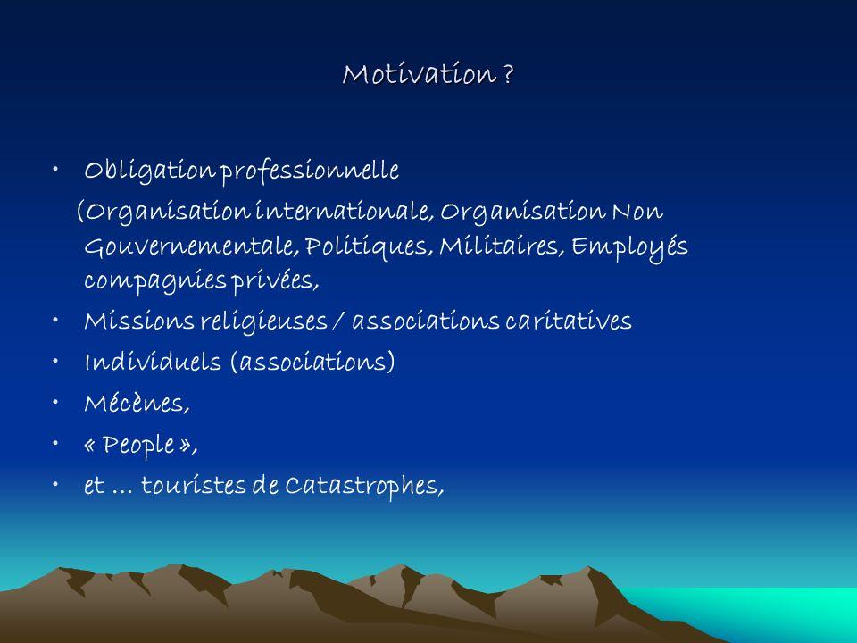 Motivation ? Obligation professionnelle (Organisation internationale, Organisation Non Gouvernementale, Politiques, Militaires, Employés compagnies pr