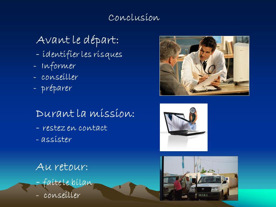 Avant le départ: - identifier les risques - Informer - conseiller - préparer Durant la mission: - restez en contact - assister Au retour: - faite le b