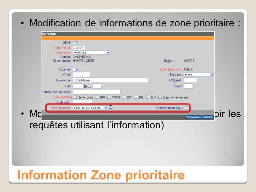 Information Zone prioritaire Modification de informations de zone prioritaire : Modification des univers (nécessité de revoir les requêtes utilisant linformation)