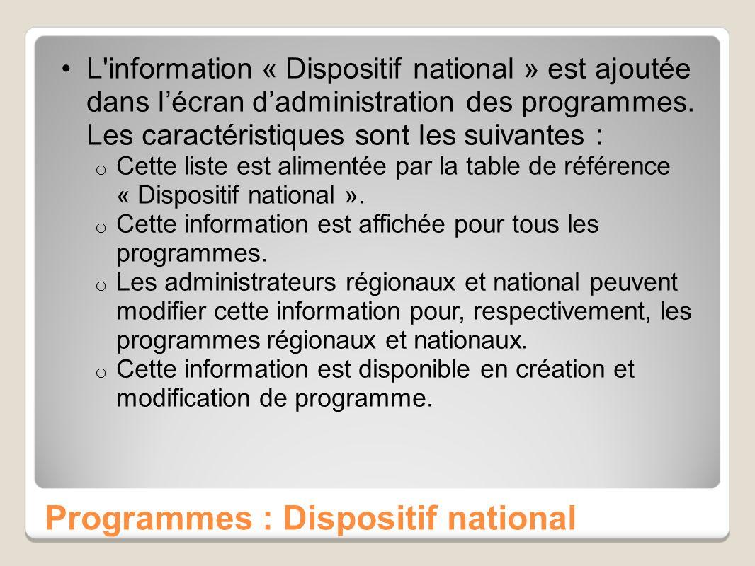 Programmes : Dispositif national L'information « Dispositif national » est ajoutée dans lécran dadministration des programmes. Les caractéristiques so